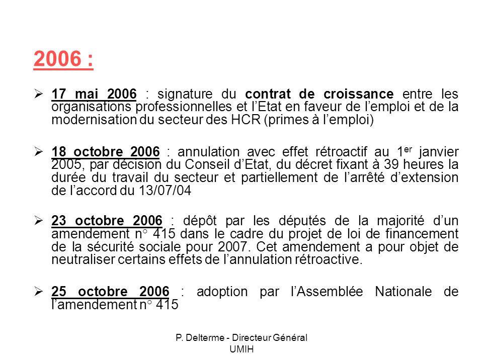 P. Delterme - Directeur Général UMIH 2006 : 17 mai 2006 : signature du contrat de croissance entre les organisations professionnelles et lEtat en fave