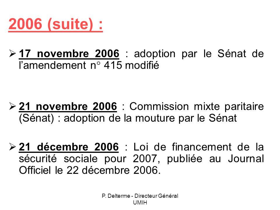P. Delterme - Directeur Général UMIH 2006 (suite) : 17 novembre 2006 : adoption par le Sénat de lamendement n° 415 modifié 21 novembre 2006 : Commissi