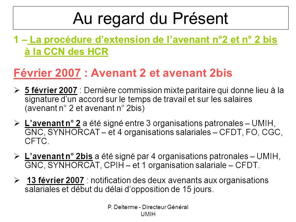 P. Delterme - Directeur Général UMIH 1 – La procédure dextension de lavenant n°2 et n° 2 bis à la CCN des HCR Février 2007 : Avenant 2 et avenant 2bis