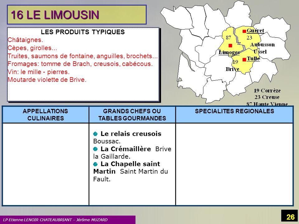 LP Etienne LENOIR CHATEAUBRIANT - Jérôme MUZARD 26 16 LE LIMOUSIN LES PRODUITS TYPIQUES Châtaignes. Cèpes, girolles... Truites, saumons de fontaine, a