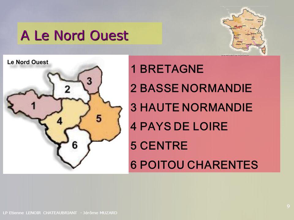 LP Etienne LENOIR CHATEAUBRIANT - Jérôme MUZARD 9 A Le Nord Ouest 1 BRETAGNE 2 BASSE NORMANDIE 3 HAUTE NORMANDIE 4 PAYS DE LOIRE 5 CENTRE 6 POITOU CHA