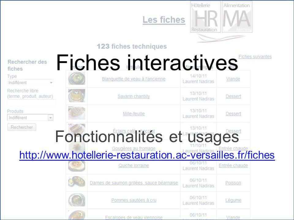 Fiches interactives Fonctionnalités et usages http://www.hotellerie-restauration.ac-versailles.fr/fiches