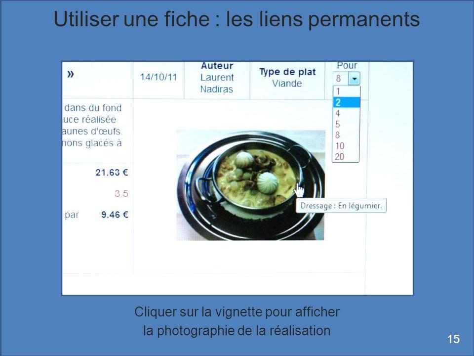 Cliquer sur la vignette pour afficher la photographie de la réalisation Utiliser une fiche : les liens permanents 15