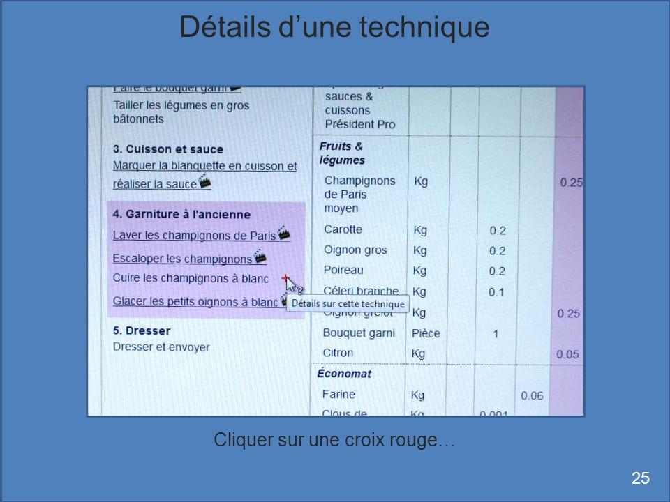 Cliquer sur une croix rouge… Détails dune technique 25