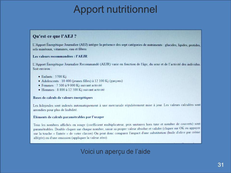 Voici un aperçu de laide Apport nutritionnel 31