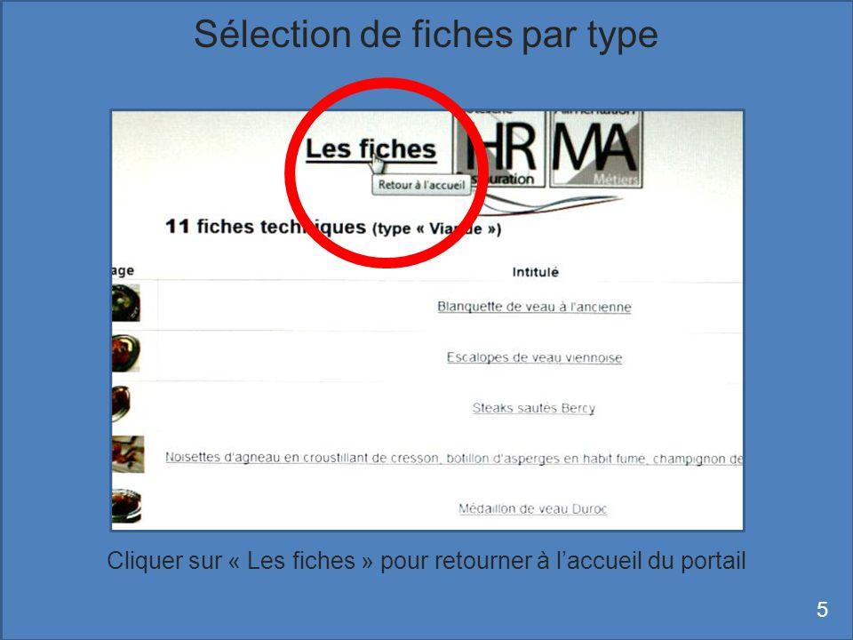 Sélectionner un type (ici « Petits fours ») puis cliquer sur « Rechercher » Rechercher des fiches avec le moteur de recherche 6