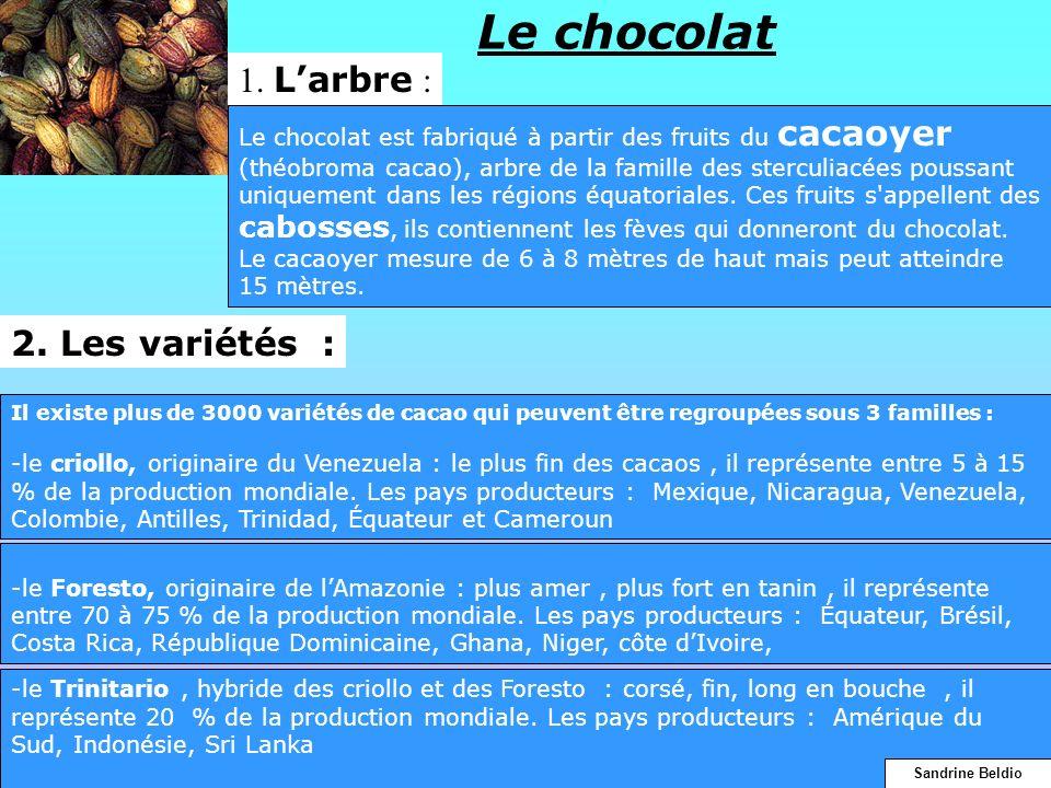 Le chocolat Il existe plus de 3000 variétés de cacao qui peuvent être regroupées sous 3 familles : -le criollo, originaire du Venezuela : le plus fin
