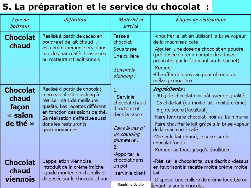Type de boissons définitionMatériel et service Étapes de réalisations Chocolat chaud Réalisé à partir de cacao en poudre et de lait chaud, il est comm