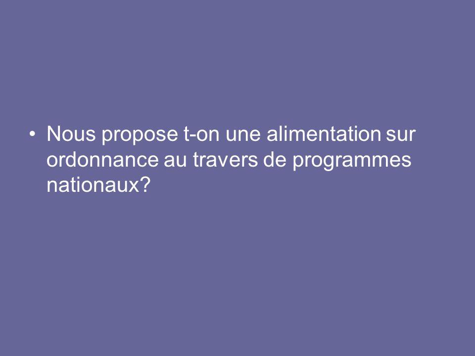 En France, les recommandations nutritionnelles sont données par le PNNS (plan national nutritionnel santé) et lOMS propose un bateau avec une répartition des différents groupes daliments.