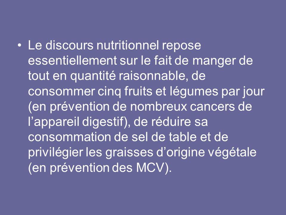 Le discours nutritionnel repose essentiellement sur le fait de manger de tout en quantité raisonnable, de consommer cinq fruits et légumes par jour (e