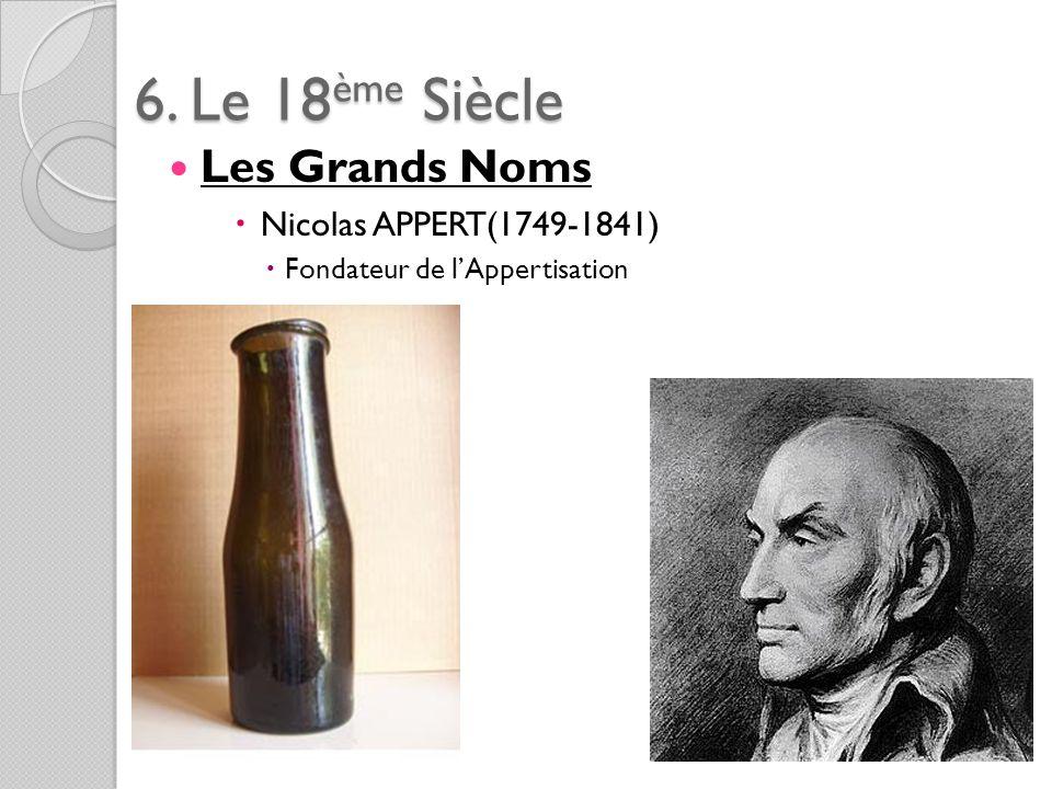 6. Le 18ème Siècle Les Grands Noms Nicolas APPERT(1749-1841) Fondateur de lAppertisation