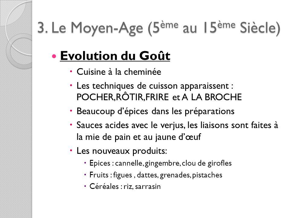 3. Le Moyen-Age (5ème au 15ème Siècle) Evolution du Goût Cuisine à la cheminée Les techniques de cuisson apparaissent : POCHER,RÔTIR,FRIRE et A LA BRO