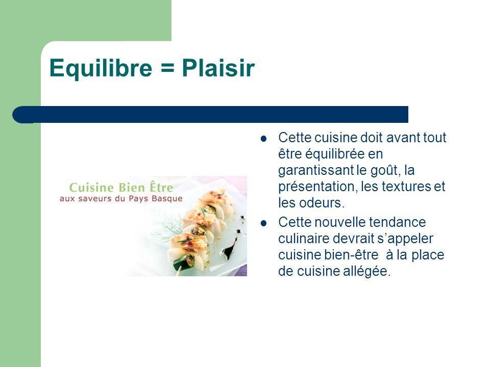 Equilibre = Plaisir Cette cuisine doit avant tout être équilibrée en garantissant le goût, la présentation, les textures et les odeurs. Cette nouvelle