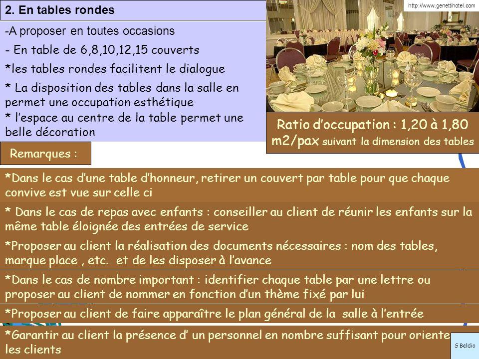 2. En tables rondes -A proposer en toutes occasions *les tables rondes facilitent le dialogue *Dans le cas dune table dhonneur, retirer un couvert par