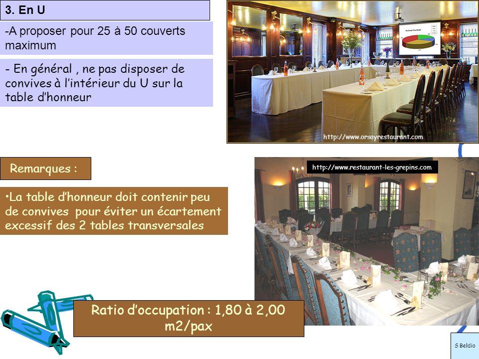 3. En U -A proposer pour 25 à 50 couverts maximum La table dhonneur doit contenir peu de convives pour éviter un écartement excessif des 2 tables tran