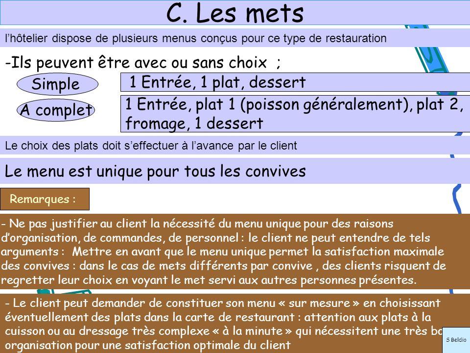 C. Les mets lhôtelier dispose de plusieurs menus conçus pour ce type de restauration Le choix des plats doit seffectuer à lavance par le client Le men