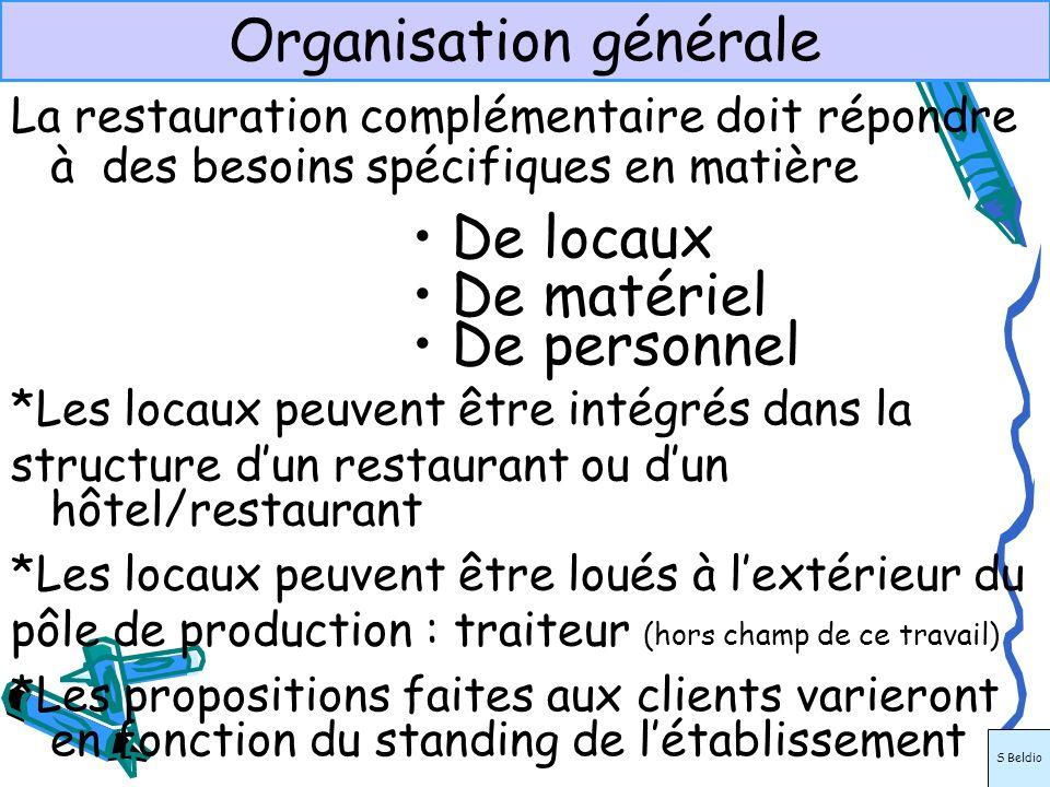 Organisation générale La restauration complémentaire doit répondre à des besoins spécifiques en matière De locaux De matériel De personnel *Les propos