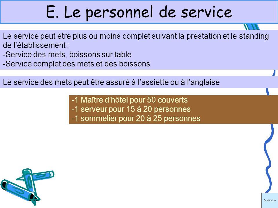 E. Le personnel de service -1 Maître dhôtel pour 50 couverts -1 serveur pour 15 à 20 personnes -1 sommelier pour 20 à 25 personnes Le service des mets