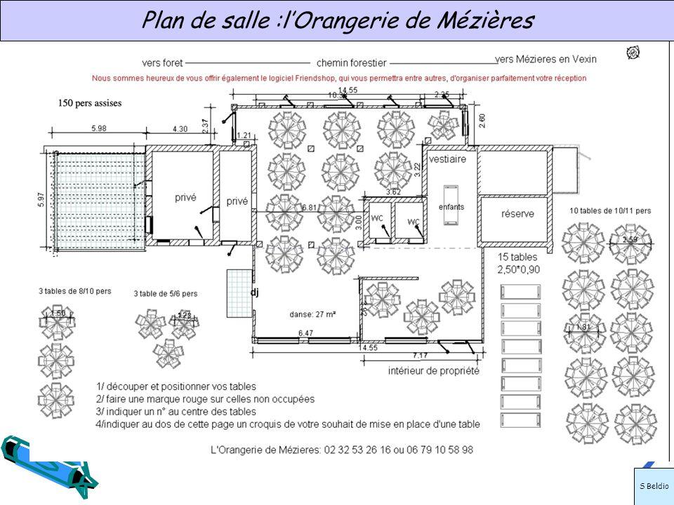 Plan de salle :lOrangerie de Mézières S Beldio