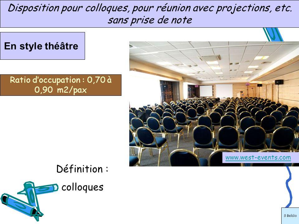 www.abcsalles.com En style théâtre Disposition pour colloques, pour réunion avec projections, etc. sans prise de note Ratio doccupation : 0,70 à 0,90