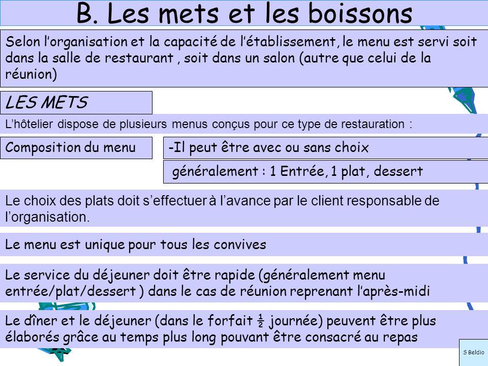 B. Les mets et les boissons Lhôtelier dispose de plusieurs menus conçus pour ce type de restauration : Le choix des plats doit seffectuer à lavance pa