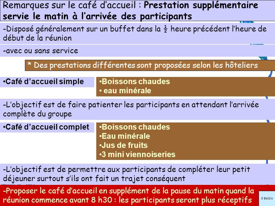 * Des prestations différentes sont proposées selon les hôteliers Café daccueil simpleBoissons chaudes eau minérale Boissons chaudes Eau minérale Jus d