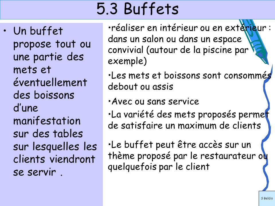 5.3 Buffets Un buffet propose tout ou une partie des mets et éventuellement des boissons dune manifestation sur des tables sur lesquelles les clients
