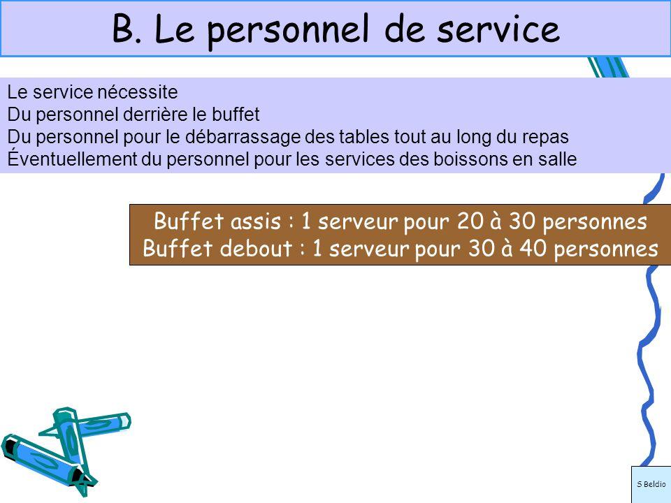 B. Le personnel de service Le service nécessite Du personnel derrière le buffet Du personnel pour le débarrassage des tables tout au long du repas Éve