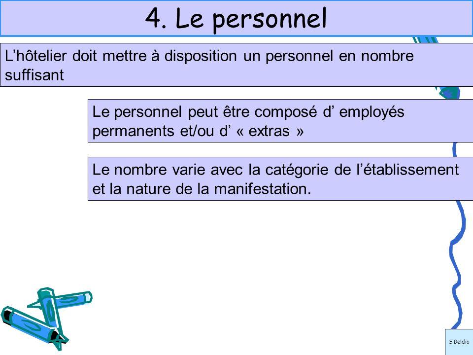 4. Le personnel Lhôtelier doit mettre à disposition un personnel en nombre suffisant Le personnel peut être composé d employés permanents et/ou d « ex