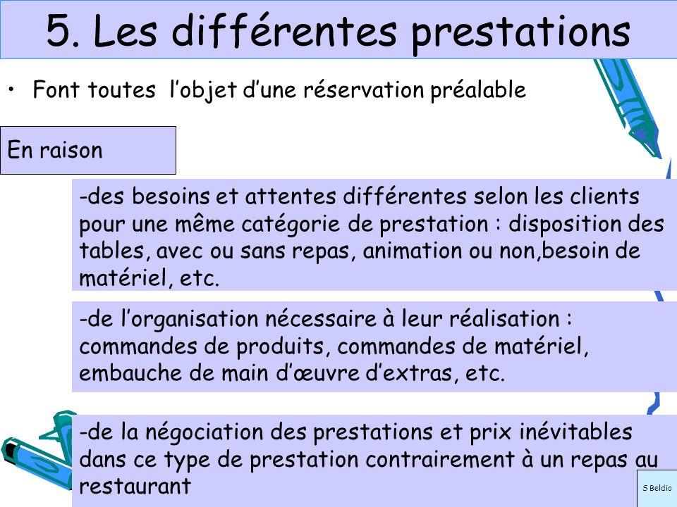 5. Les différentes prestations Font toutes lobjet dune réservation préalable En raison -de la négociation des prestations et prix inévitables dans ce