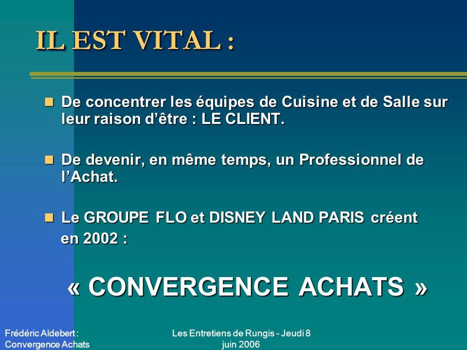 Les Entretiens de Rungis - Jeudi 8 juin 2006 Frédéric Aldebert : Convergence Achats IL EST VITAL : De concentrer les équipes de Cuisine et de Salle su