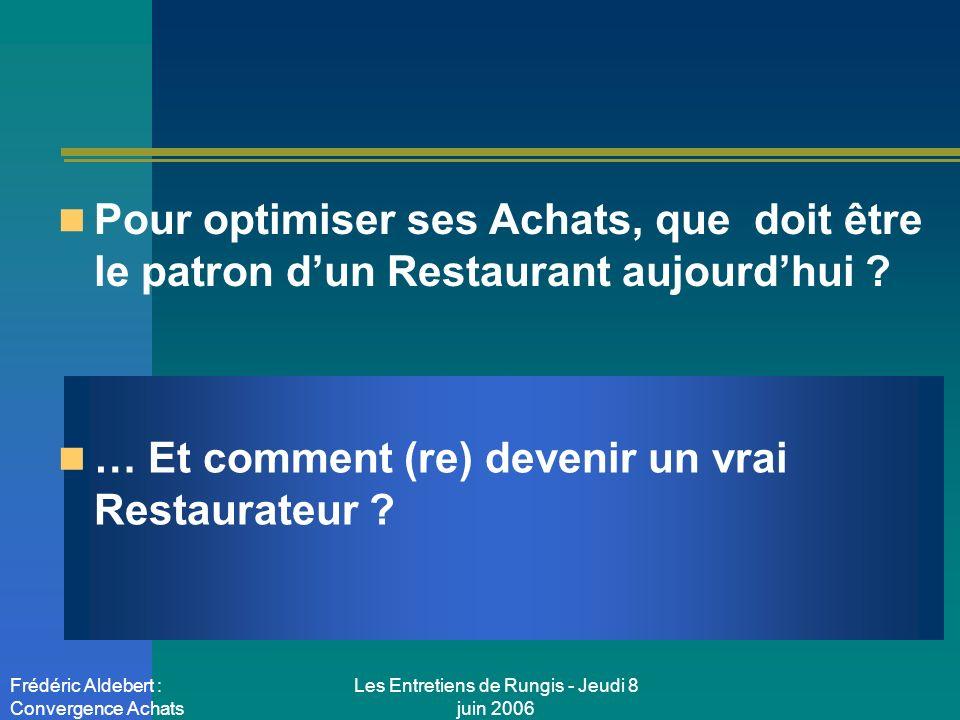 Les Entretiens de Rungis - Jeudi 8 juin 2006 Frédéric Aldebert : Convergence Achats Pour optimiser ses Achats, que doit être le patron dun Restaurant