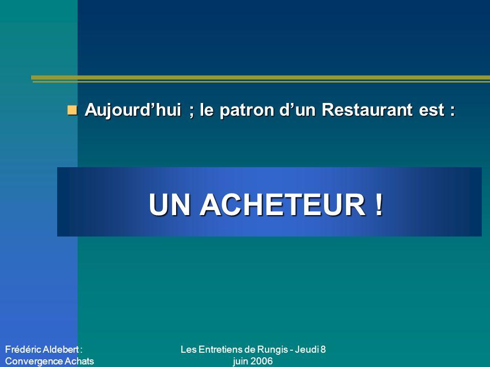Les Entretiens de Rungis - Jeudi 8 juin 2006 Frédéric Aldebert : Convergence Achats Aujourdhui, le patron dun restaurant est : Aujourdhui, le patron dun restaurant est : UN INGENIEUR QUALITE !