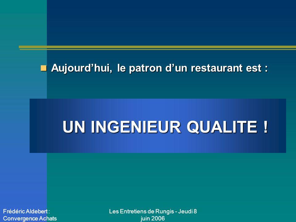 Les Entretiens de Rungis - Jeudi 8 juin 2006 Frédéric Aldebert : Convergence Achats Aujourdhui, le patron dun restaurant est : Aujourdhui, le patron dun restaurant est : UN CONTROLEUR DE GESTION !