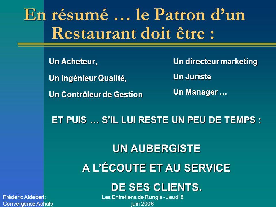 Les Entretiens de Rungis - Jeudi 8 juin 2006 Frédéric Aldebert : Convergence Achats En résumé … le Patron dun Restaurant doit être : Un Acheteur, Un I
