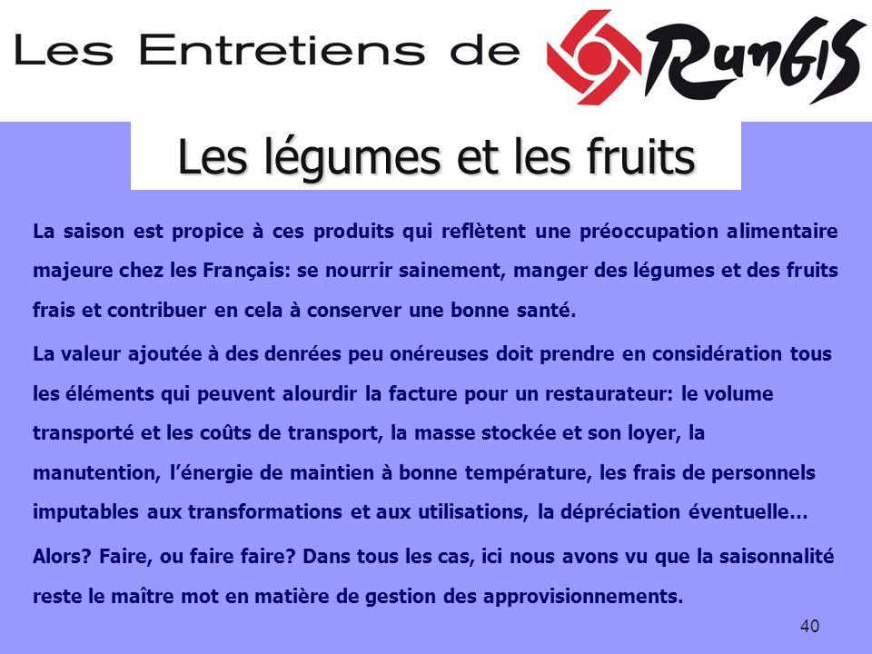 40 La saison est propice à ces produits qui reflètent une préoccupation alimentaire majeure chez les Français: se nourrir sainement, manger des légumes et des fruits frais et contribuer en cela à conserver une bonne santé.