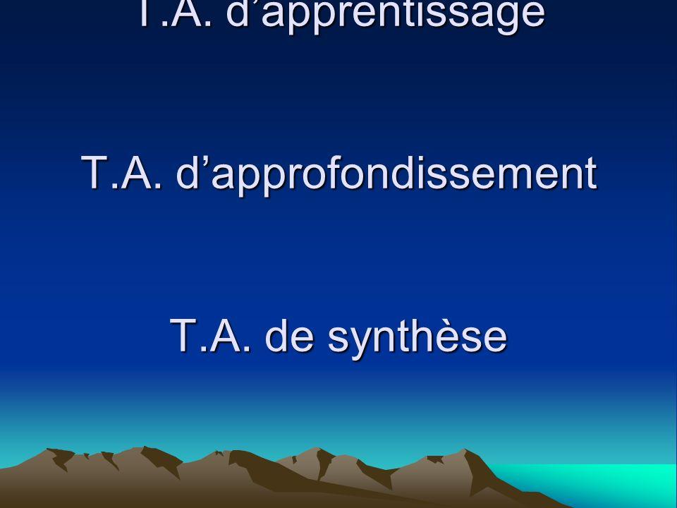 T.A. dapprentissage T.A. dapprofondissement T.A. de synthèse