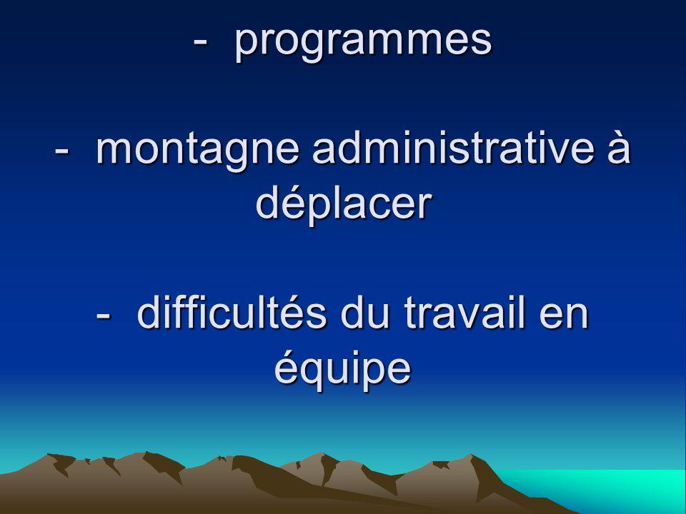 - crainte du changement - programmes - montagne administrative à déplacer - difficultés du travail en équipe