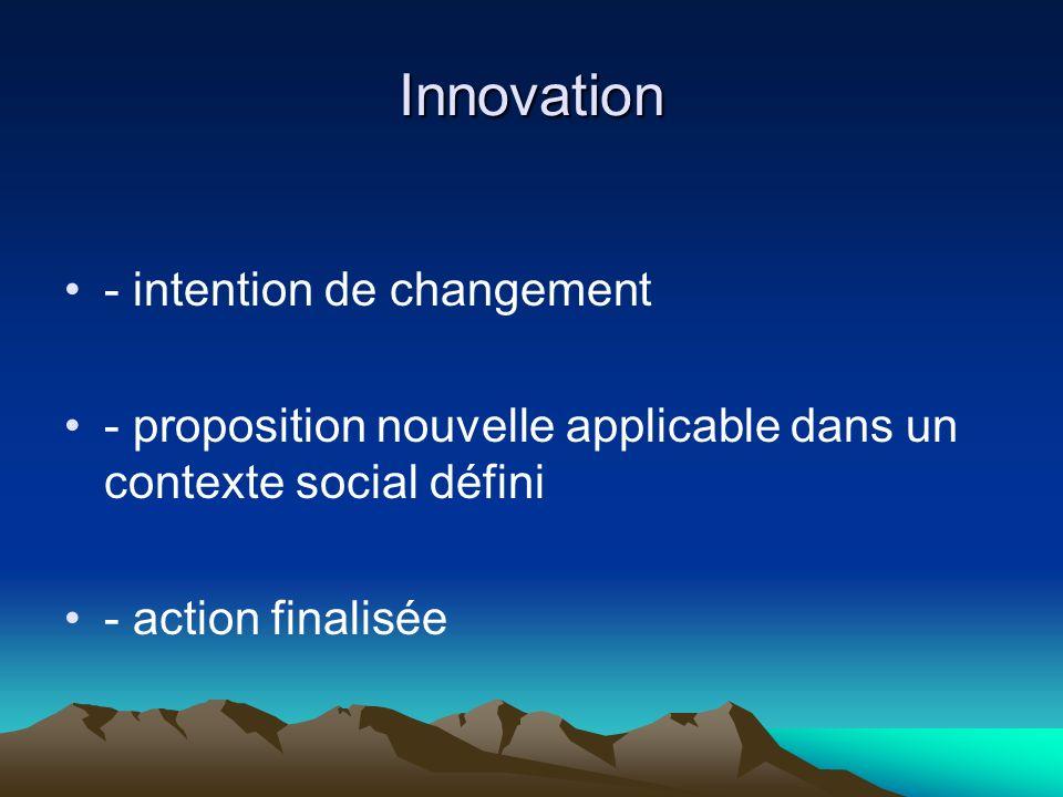 Innovation - intention de changement - proposition nouvelle applicable dans un contexte social défini - action finalisée