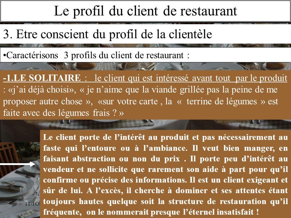 11/1O/2009S.Beldio Le profil du client de restaurant 3. Etre conscient du profil de la clientèle -1.LE SOLITAIRE : le client qui est intéressé avant t