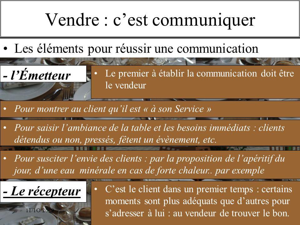 11/1O/2009S.Beldio Vendre : cest communiquer - lÉmetteur Le premier à établir la communication doit être le vendeur Pour montrer au client quil est «