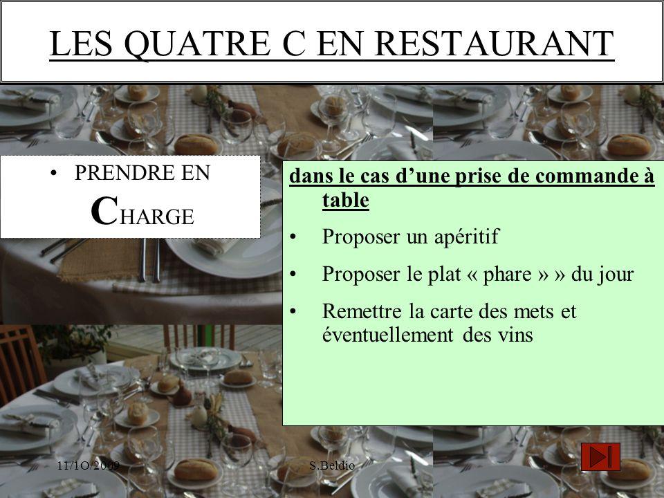 11/1O/2009S.Beldio dans le cas dune prise de commande à table Proposer un apéritif Proposer le plat « phare » » du jour Remettre la carte des mets et