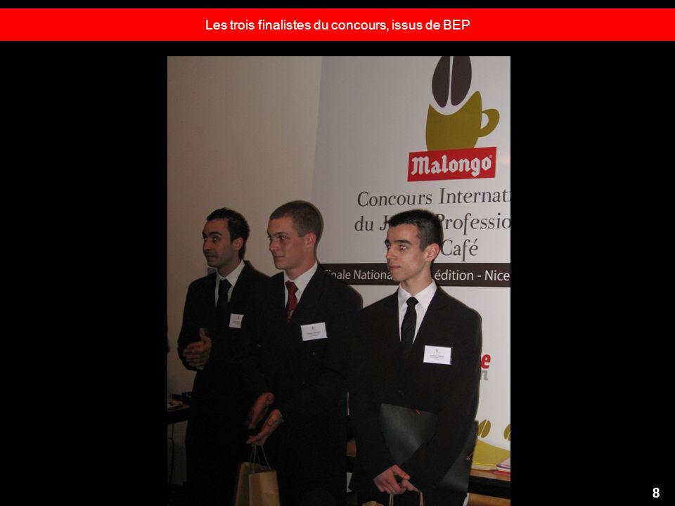 Les trois finalistes du concours, issus de BEP 8