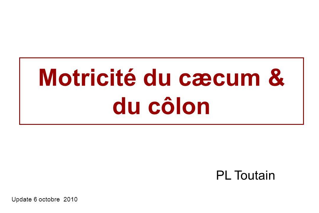 Motricité du cæcum & du côlon Update 6 octobre 2010 PL Toutain