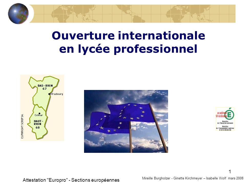Attestation Europro - Sections européennes 12 Comment linclure dans la formation .