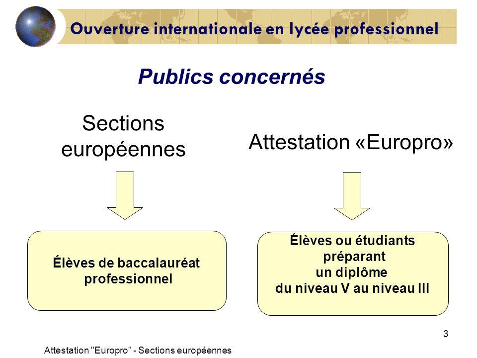 Attestation Europro - Sections européennes 4 Préparation au lycée en entreprise Attestation « Europro » - Sections européennes Ouverture internationale en lycée professionnel