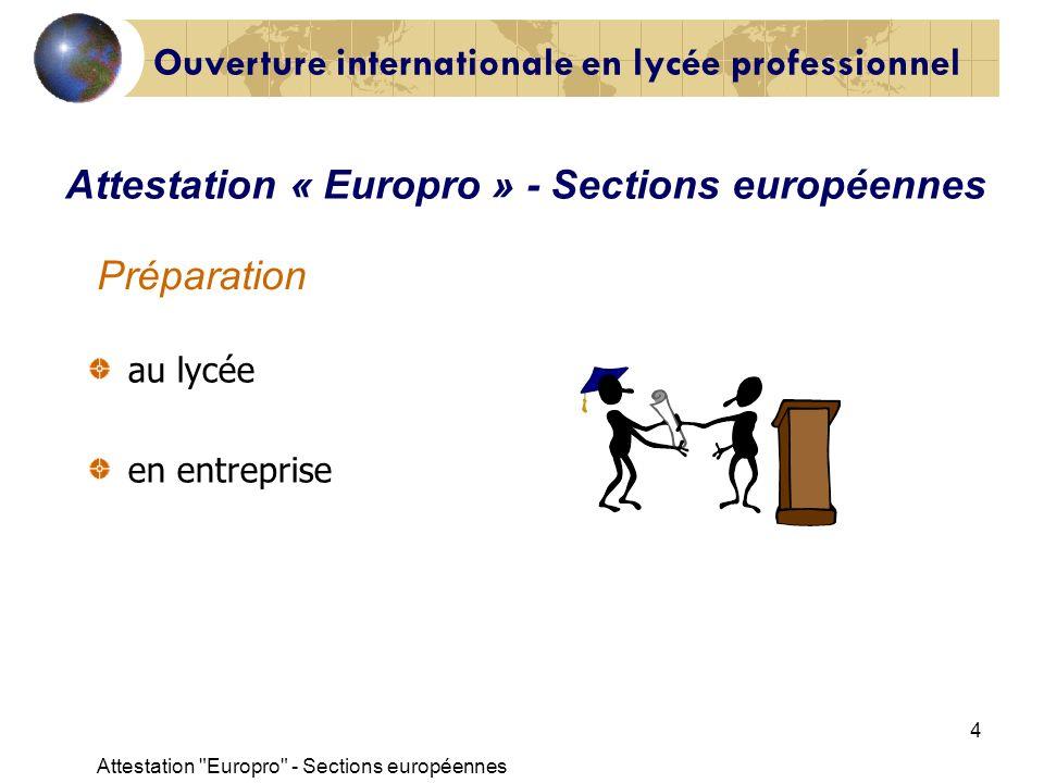 Attestation Europro - Sections européennes 15 BREVET D ÉTUDES PROFESSIONNELLES ATTESTATION EUROPRO vu larrêté du 16/04/2002 Lattestation EUROPRO est délivrée, au titre de lannée 200.