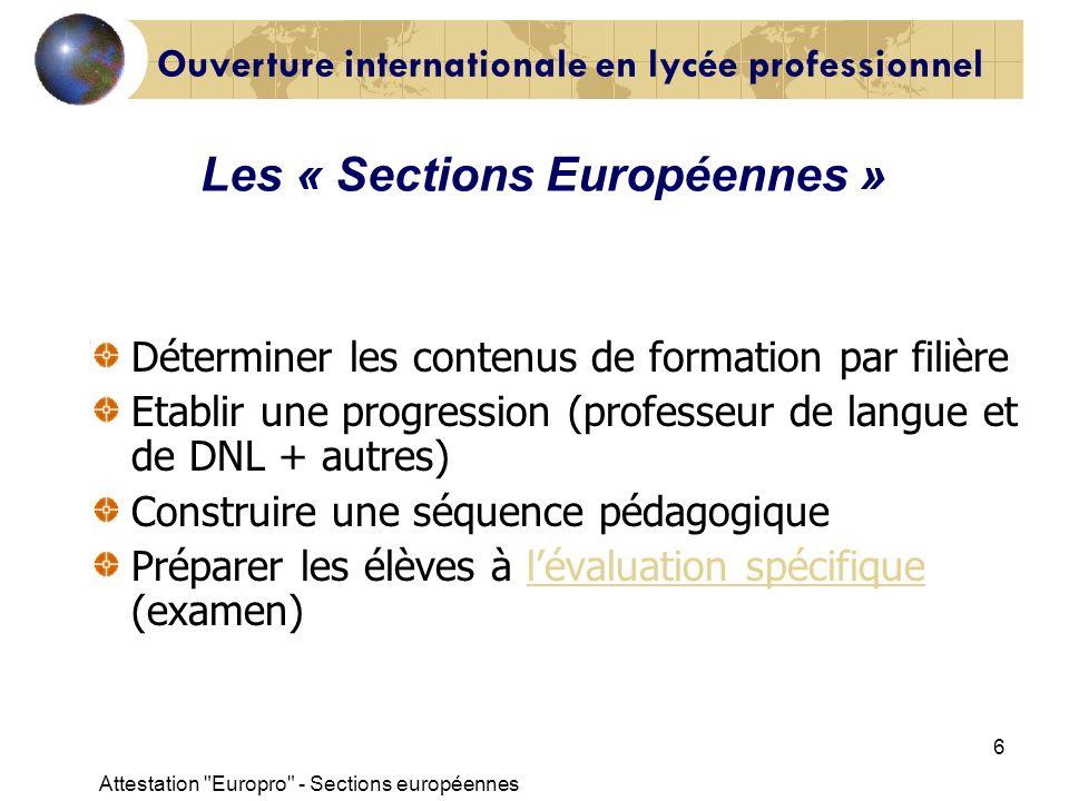 Attestation Europro - Sections européennes 17 Les critères dévaluation pour laspect linguistique CAP : niveau A2 BEP : niveau B1 BAC PRO : niveau B2 Lattestation « Europro »