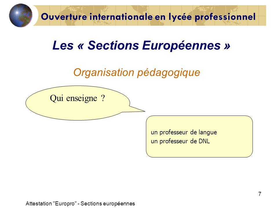 Attestation Europro - Sections européennes 8 Indication «Section Européenne» portée sur le diplôme 12 à lépreuve obligatoire de LV1 10 à lévaluation spécifique Conditions : Les « Sections Européennes »