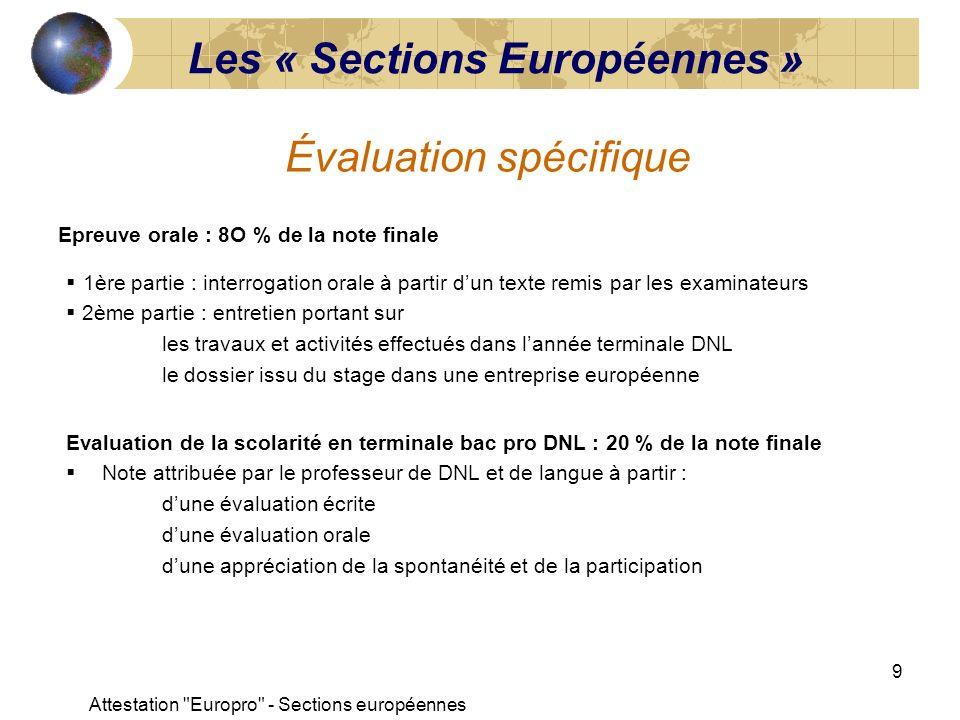 Attestation Europro - Sections européennes 10 Évaluation certificative permettant de reconnaître la mobilité européenne Lattestation « Europro » Nécessité de préparer lélève à la dimension européenne et inter-culturelle à la connaissance dun bagage linguistique aux exigences du monde professionnel